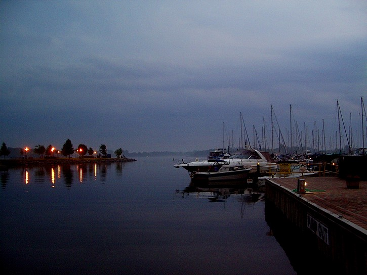 Gananoque marina after sunset.
