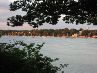 sailboats moored in the Niagara Rive