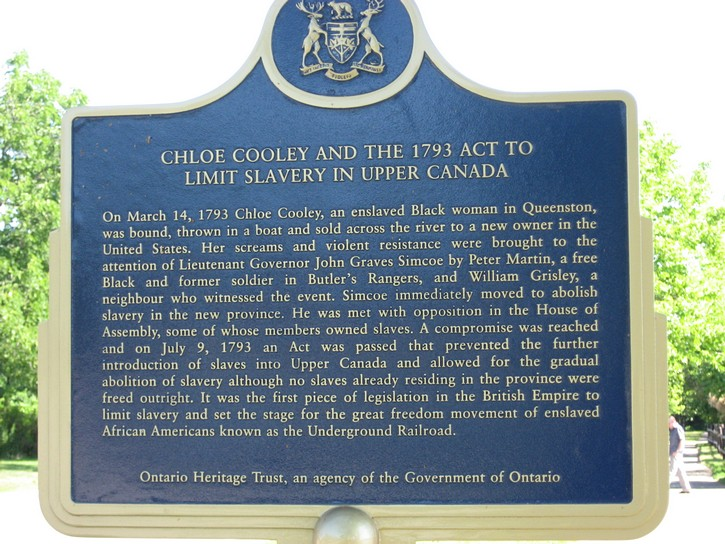 historical plaque about the Act to limit slavery in Upper Canada