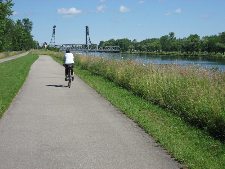 Cycling next to a waterway