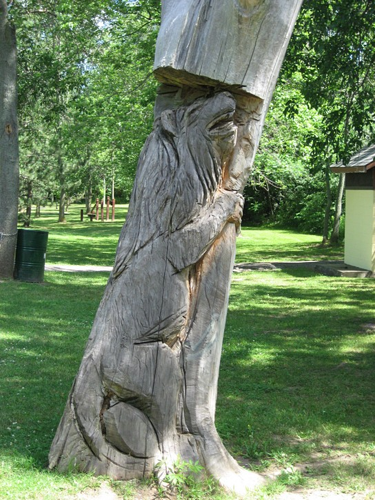 interesting carving along bike path