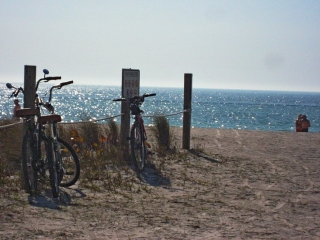 Bicycles on beach on Anna Maria Island.
