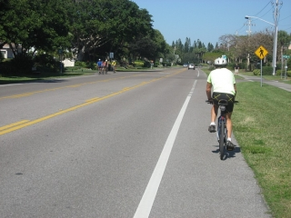 Cyclists on Gulf of Mexico Drive on Longboat Key