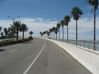 on the bridge between Sarasota and Lido Key