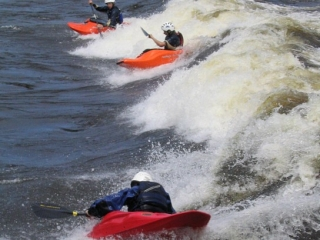 Kayakers off Bate Island in the Ottawa River.