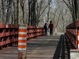 wooden bridge on the  Vogageurs Pathway