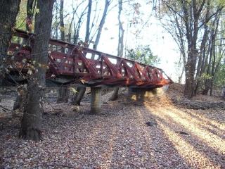 wooden bridge on pathway