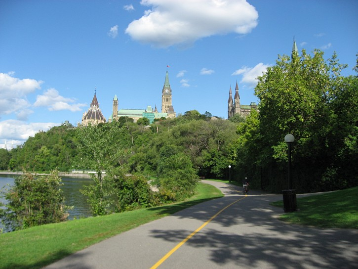 View of the Parliament Buildings from pathway