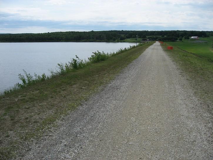 weir at the Choinière Reservoir