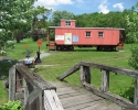 caboose tourist information office near Waterloo.