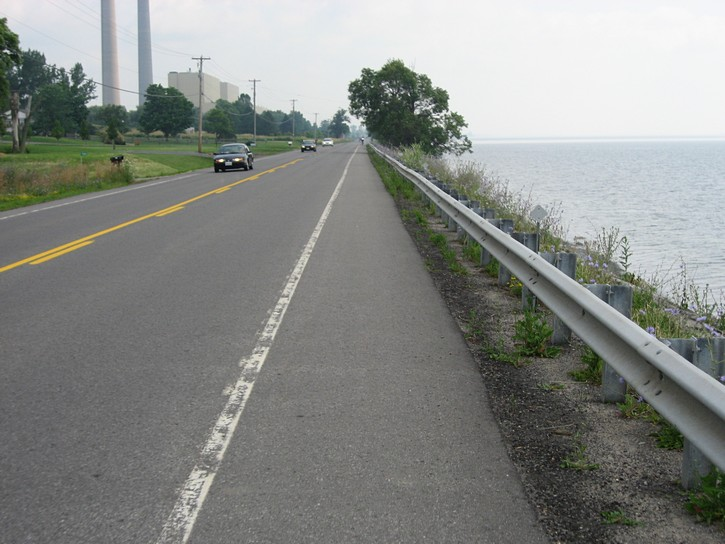 Highway 33 rnext to the water's edge.