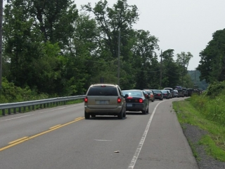 line up of cars for the Glenora Ferry