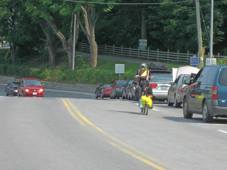 line up of cars waiting for the Glenora Ferry