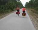 tow touring cyclists on the Legacy Trail