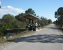 cyclists at rest station on the Legacay Trail.