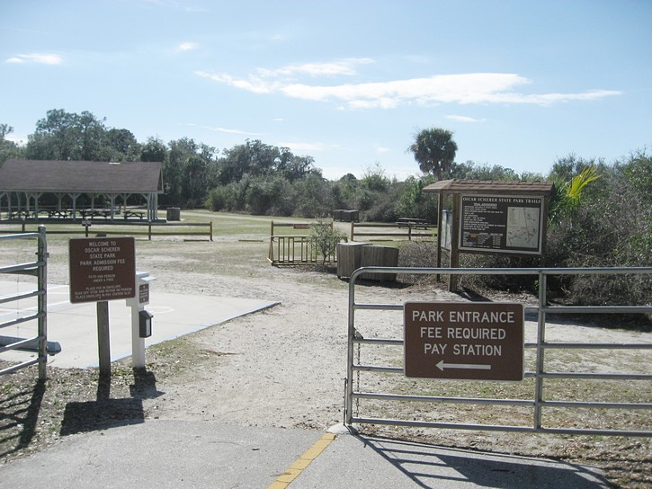entrance to the Oscar Scherer State Park on the Legacy Trail.