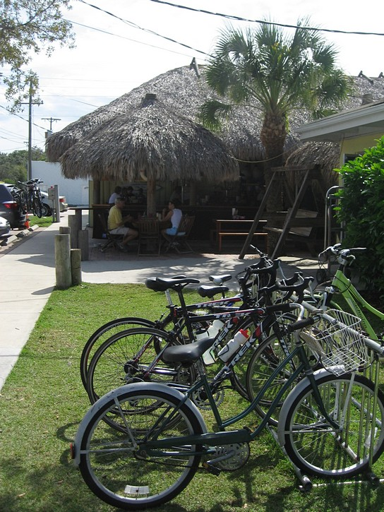 bikes stand at seafood restaurant.