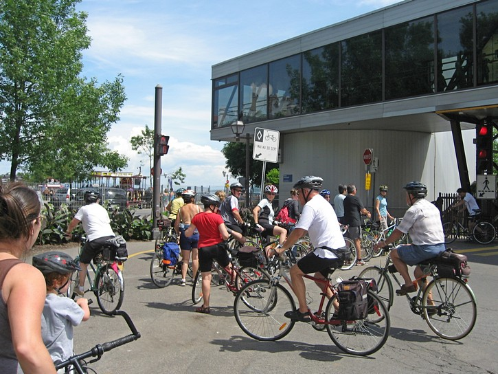 Cyclists in Quebec City getting on the ferry to Levis