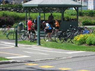 gazebo next to bike path east of Levis