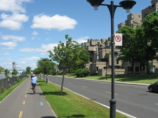 bike path next to Habitat 67