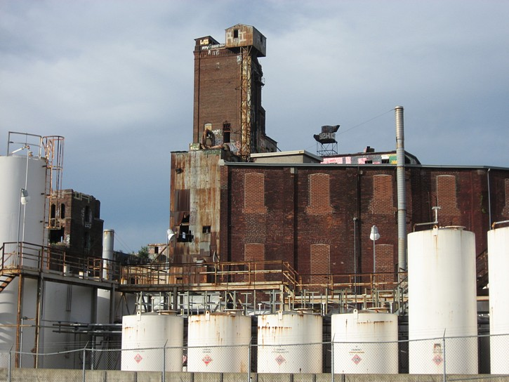 industrial buildings next to the Lachine Canal