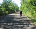 The bicycle path in the middle of the St. Lawrence River
