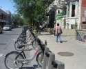 rack of Bixi bikes in Montreal