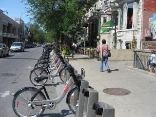 rack of Bixi bikes in Montreal