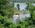 A sailboat at anchor at Pinhey's Point