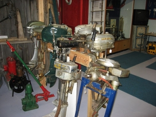 old outboard motors at the Mariner's Museum