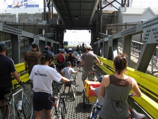 Cyclists boarding ferry to Levis.