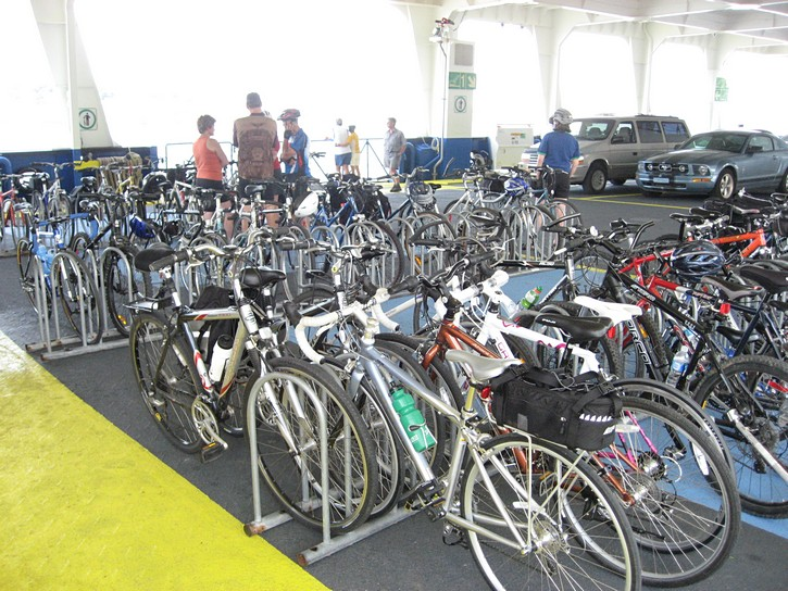 bicycles on ferry to Levis.