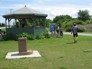 gazebo and water fountain next to bike path east of Levis