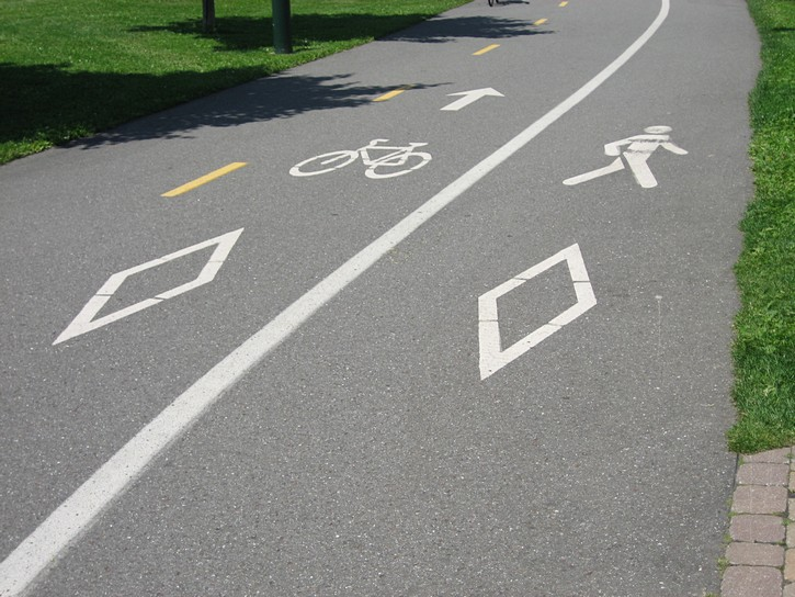 path with separate lanes for cyclists and pedestrians