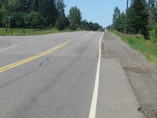 end of paved shoulder on Oliver Road