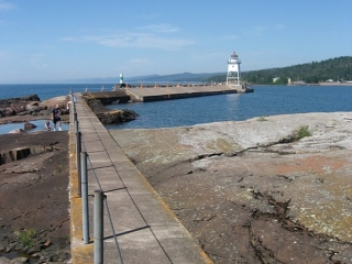 breakwater in front of Grand Marais