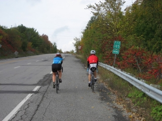 cycling on highway 105 in Quebec