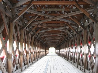 inside the Wkaefield covered bridge