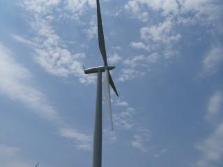 huge wind turbines on Wolfe Island