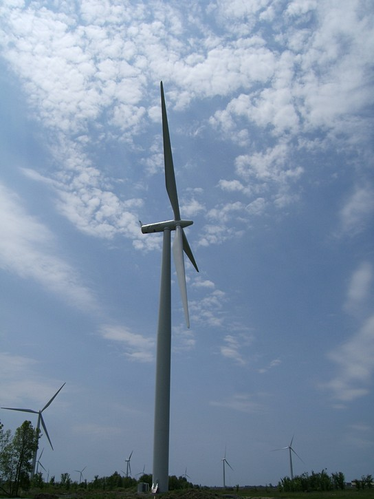 huge wind turbines on Wolfe Island