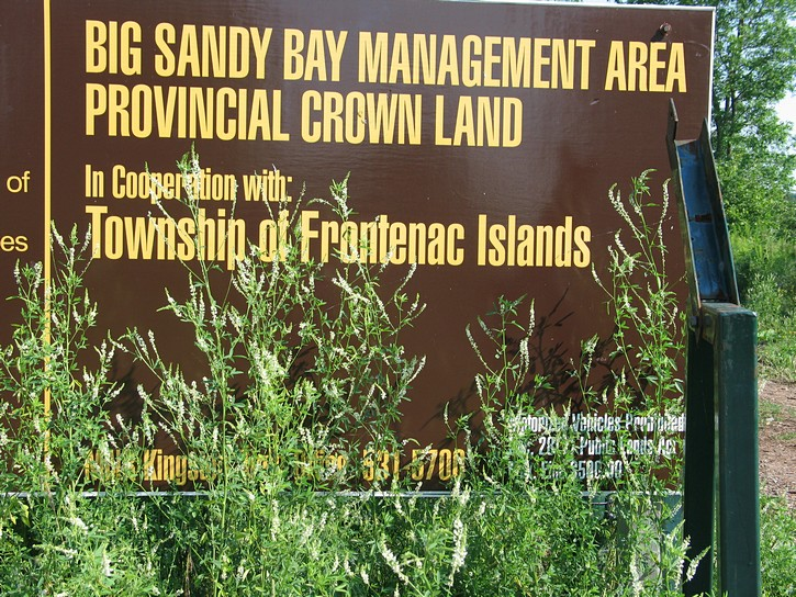 sign for Big Sandy Bay on Wolfe Island