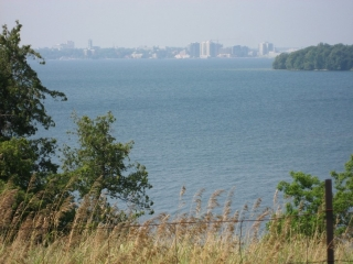 view of Kingston from Highway 96 on Wolfe Island