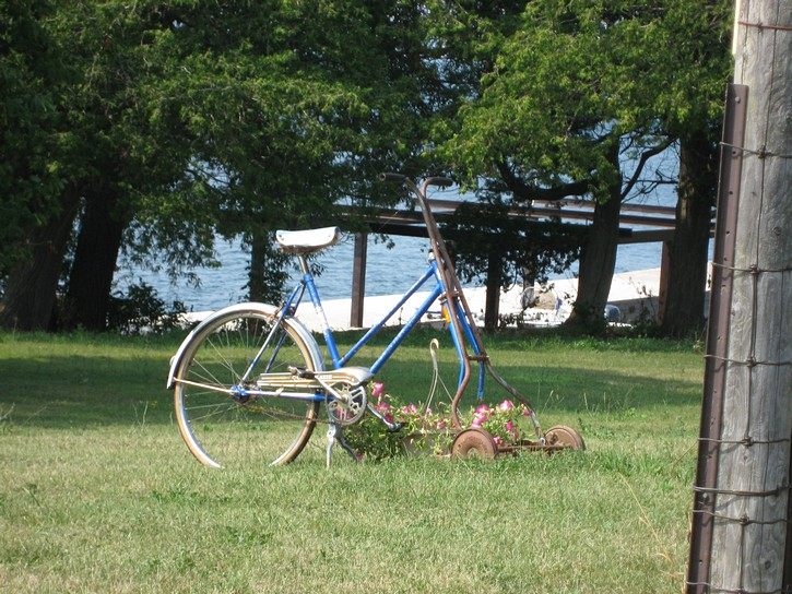 a bicycle lawn mower