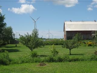 Barn with wind turbines on Wolfe Island